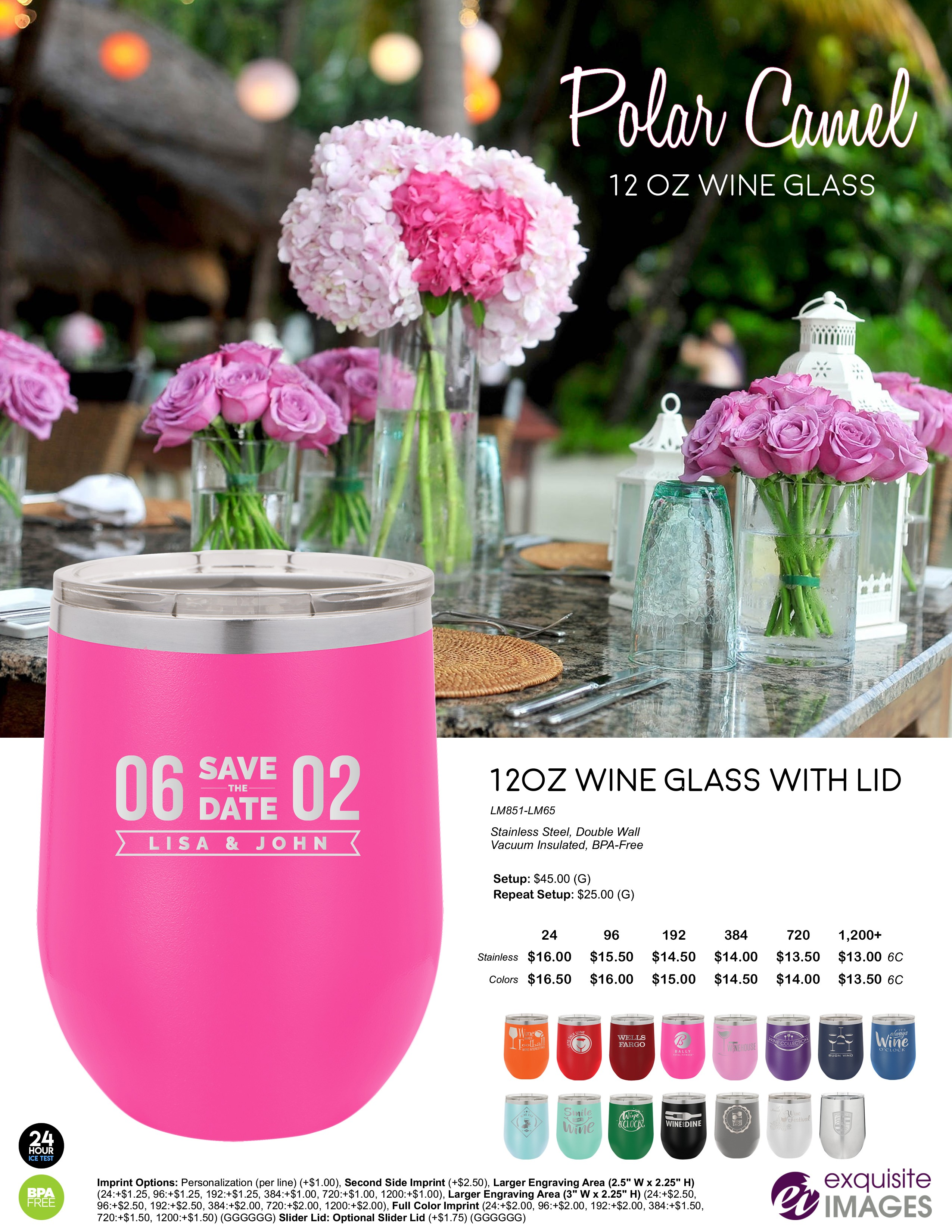 Polar Camel Wine Tumblers - Wedding Theme