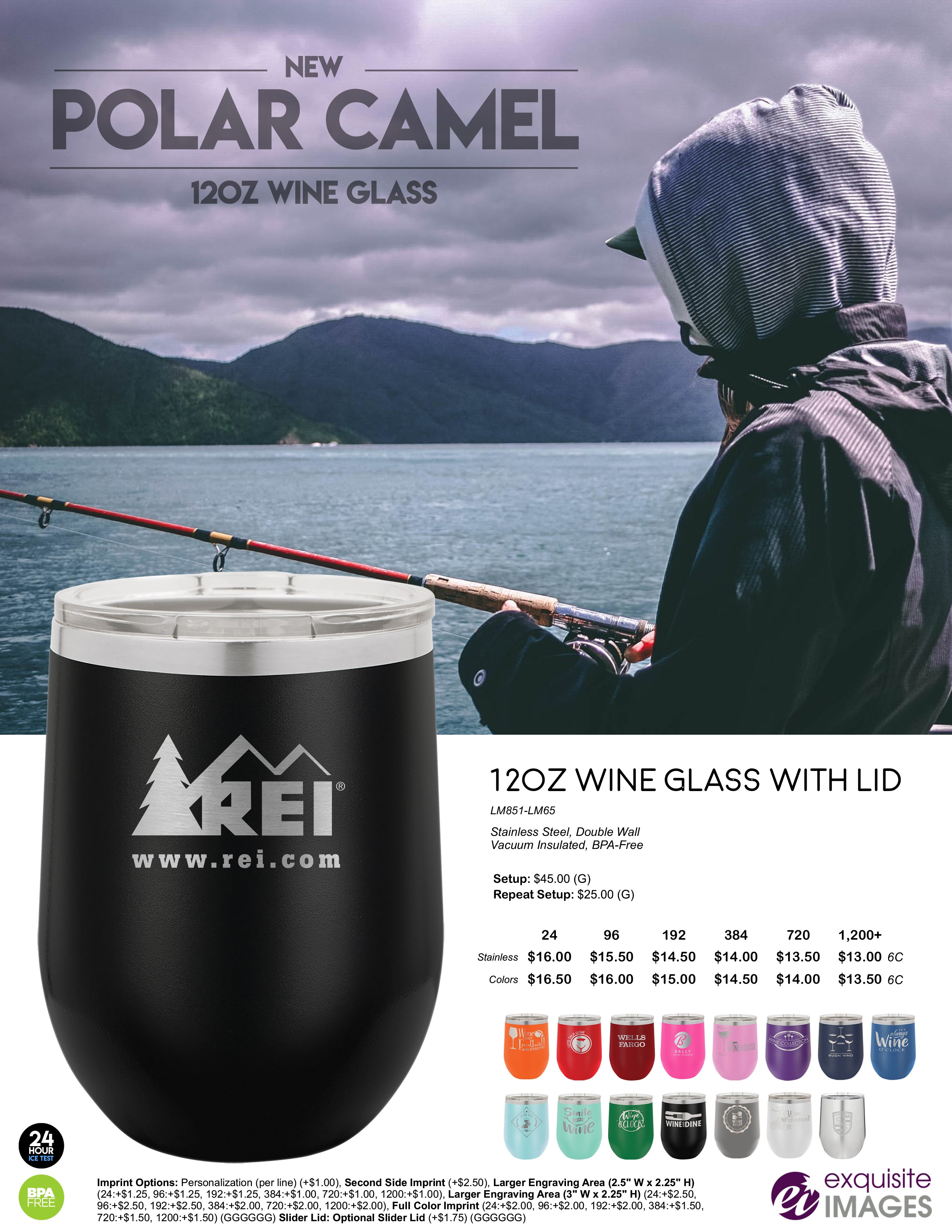 Polar Camel Wine Tumblers - Fishing Theme