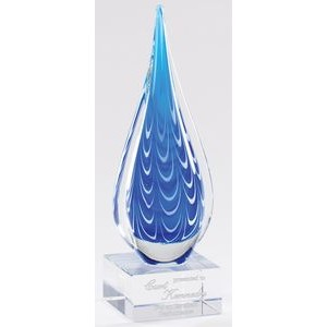 Blue and White Tear Drop Art Glass on Clear Glass Base, 10