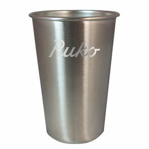 16oz. Stainless Steel Pint Glass with Rolled Rim