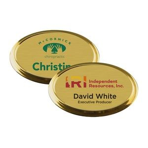 "Gold Framed Oval Name Badge with Full Color Imprint & Personalization (2 3/4"" x 1 7/8"")"