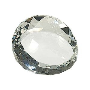 "3.5"" Round Crystal Facet Slant Paperweight"