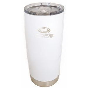 Boss Big Grip 20 oz. Tumbler with Finger Grips - White - Double Wall Vacuum Insulated Stainless