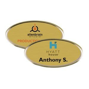 "Gold Framed Oval Name Badge w/Full Color Imprint & Personalization (2 3/8"" x 1 1/8"")"