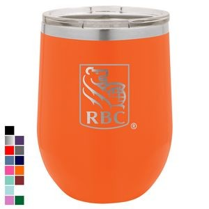 Polar Camel 12 oz. Orange Vacuum Insulated Stemless Wine Glass w/ Lid